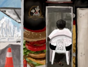 Danny Mooney 'Burger van, 21.11.16' iPad painting #APAD