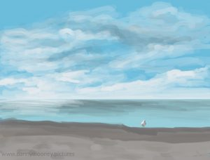 Danny Mooney 'Gull on the beach, 7/11/16' iPad painting #APAD