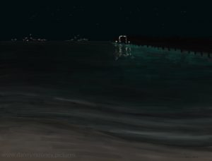 Danny Mooney 'Night time Brownes beach, 19.11.16' iPad painting #APAD