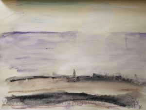 Danny Mooney 'Purple sea, dog walker, 28/11/16' crayon and pen on paper
