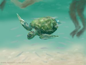 Danny Mooney 'Swimming with turtles, 26.11.16' iPad painting #APAD