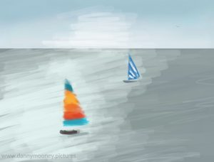 Danny Mooney '2 boats and a seagull, 4/12/2016' iPad painting #APAD