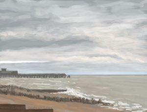 Danny Mooney 'Pier, beach and breakers, 25/12/16' iPad painting #APAD