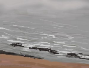 Danny Mooney 'Rocks, beach and mist, 21/12/16' iPad painting #APAD