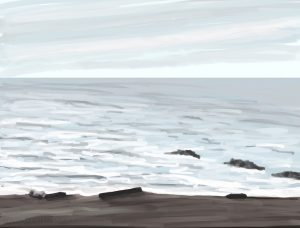 Danny Mooney 'Blue sea, 3/2/17' iPad painting #APAD