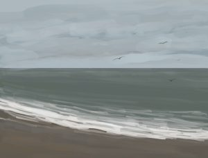 Danny Mooney 'Scarborough, low tide, 11/2/17' iPad painting #APAD