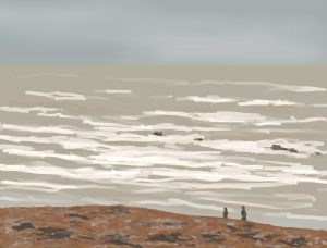 Danny Mooney 'Beach walk, 5/3/17' iPad painting #APAD