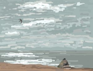 Danny Mooney 'Crows and a gull, 14/3/17' iPad painting #APAD