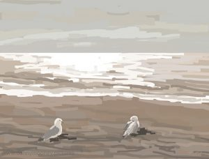 Danny Mooney 'Herring Gulls, 21/3/17' iPad painting #APAD