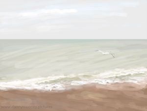 Danny Mooney 'A gull flew by, 6/5/17' iPad painting #APAD